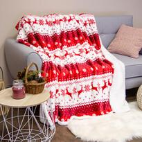 Pătură imitație blană de miel Ren, roșie, 150 x 200 cm
