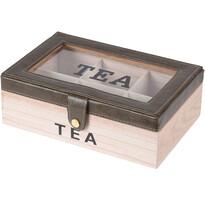 Pudełko do herbaty w torebkach ozdobione skajem, 24 x 16 x 8 cm, ciemnobrązowy