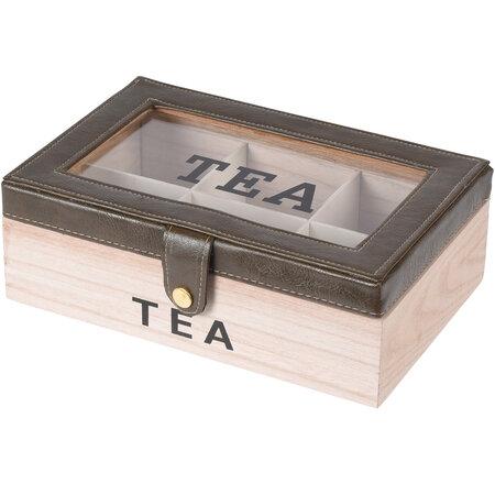 Box na čajové sáčky s koženkou, 24 x 16 x 8 cm, šedá