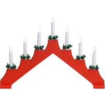 Świecznik świąteczny Candle Bridge czerwony, 7 LED
