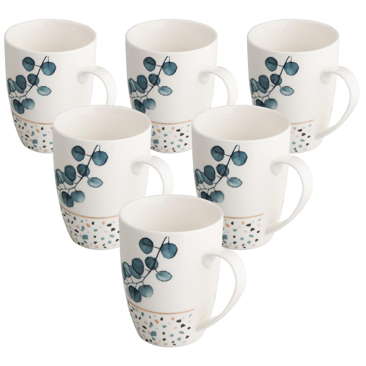 Altom Sada porcelánových hrnčekov Konfetti 340 ml, 6 ks, modrá