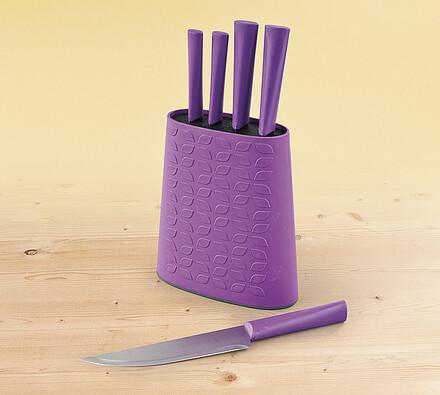 Sada ocelových nožů v bloku, fialová