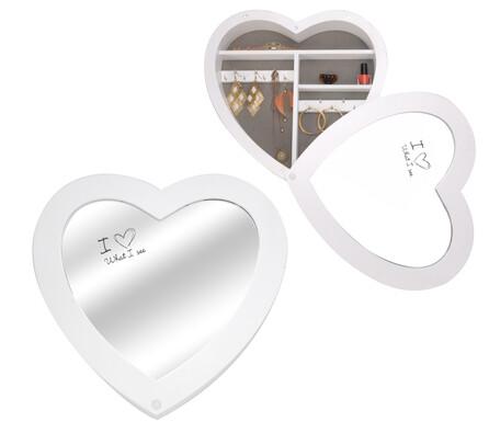 Skříňka se zrcadlem na šperky ve tvaru srdce