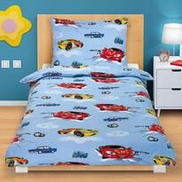 Bavlněné povlečení Závodní auta, 140 x 200, 70 x 90 cm