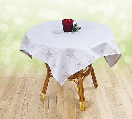 Elegantní vánoční ubrus, 85 x 85 cm, bílá, 85 x 85 cm