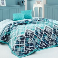 BedTex Narzuta na łóżko Riwiera turkusowy, 220 x 240 cm, 2x 40 x 40 cm