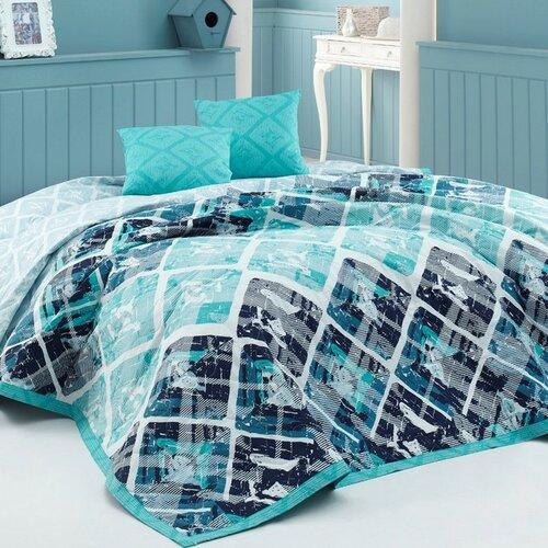 BedTex Riviéra ágytakaró türkisz, 220 x 240 cm, 2 x 40 x 40 cm