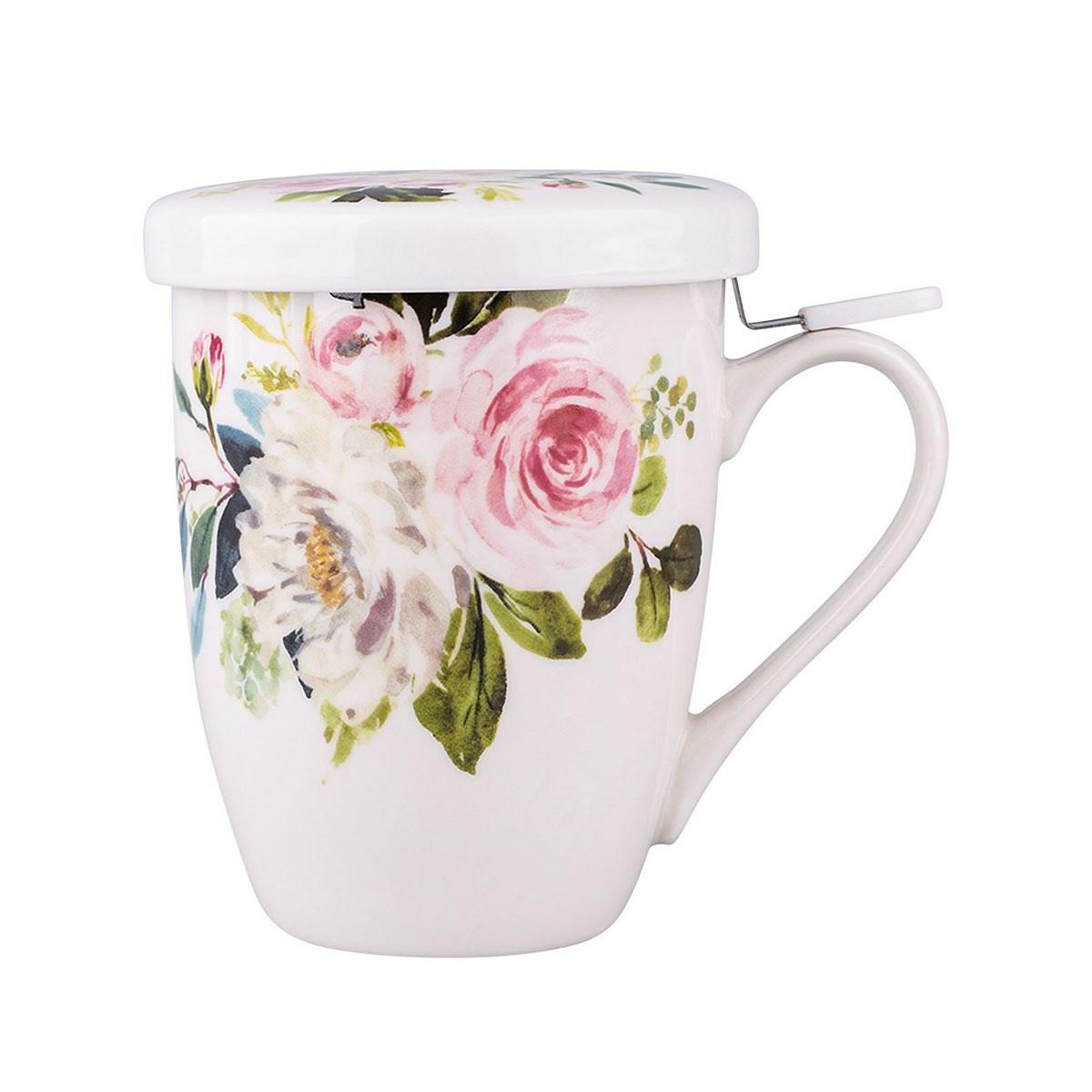 Altom Amelia porcelán bögre szűrővel 300 ml, fehér