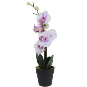 Umělá orchidej v květináči bílá, 47 cm