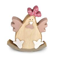 Veľkonočn drevená sliepočka Evelína ružová, 15 cm