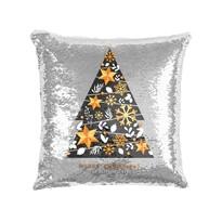 Domarex Vánoční polštářek s flitry Stromeček, 40 x 40 cm