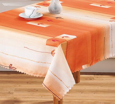 Oranžový teflonový ubrus s kvítky, pr. 130 cm