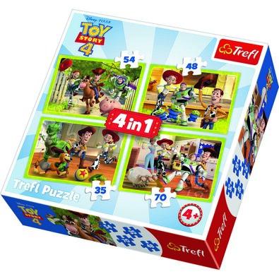 Trefl Puzzle Príbeh hračiek 4, 4 ks (35,48,54,70 dielikov)