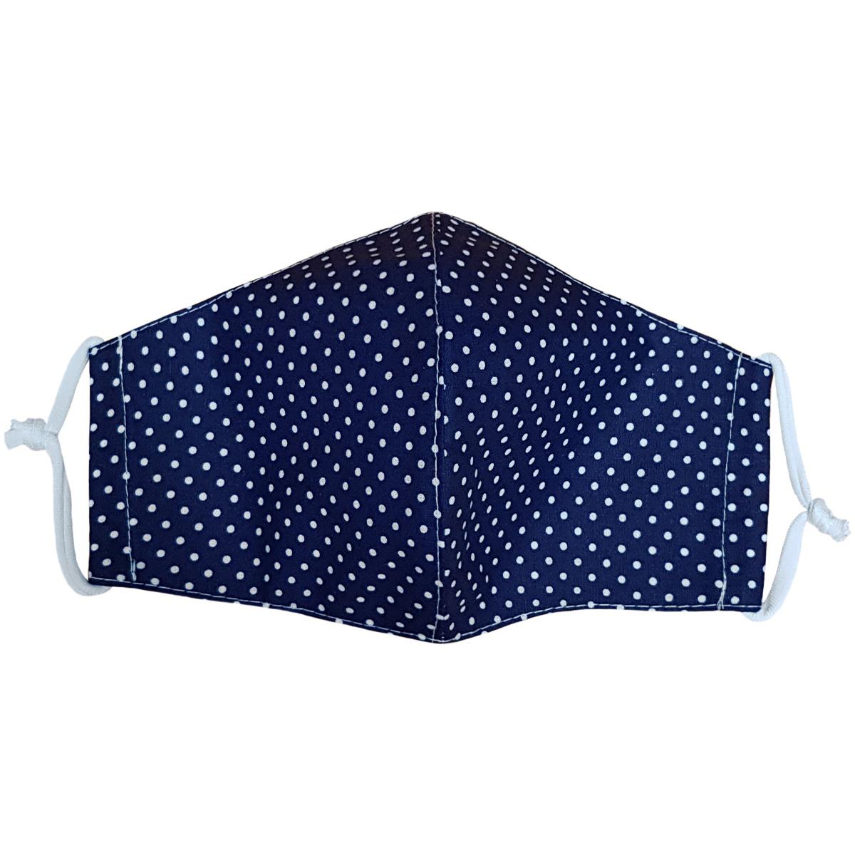 Ústní bavlněná rouška Puntík mini tmavě modrá, L