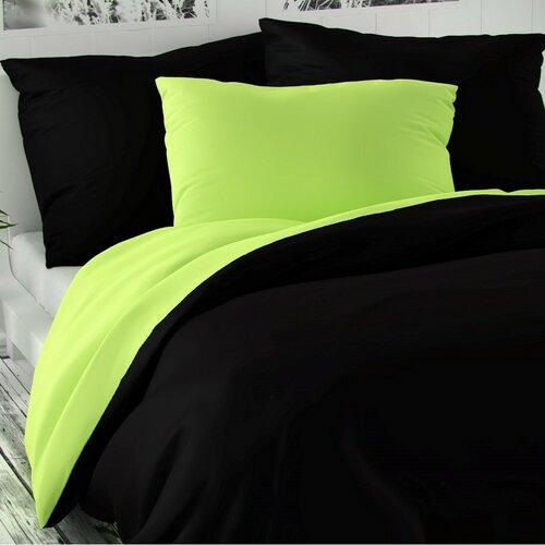 Saténové povlečení Luxury Collection černá/sv. zelená, 140 x 200 cm, 70 x 90 cm