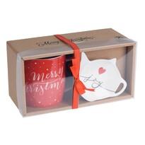 Set cadou cești și farfurioare de Crăciun MerryChristmas 320 ml, roșu