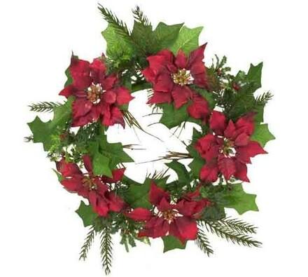 Dekorativní umělý věnec - vánoční hvězda/ Poinsett