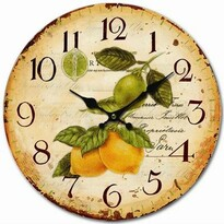 Drewniany zegar ścienny Vintage lemons, śr. 34 cm