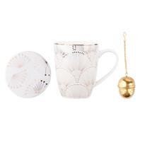 Altom Modern porcelánkészlet - bögre szűrővel 300 ml, arany