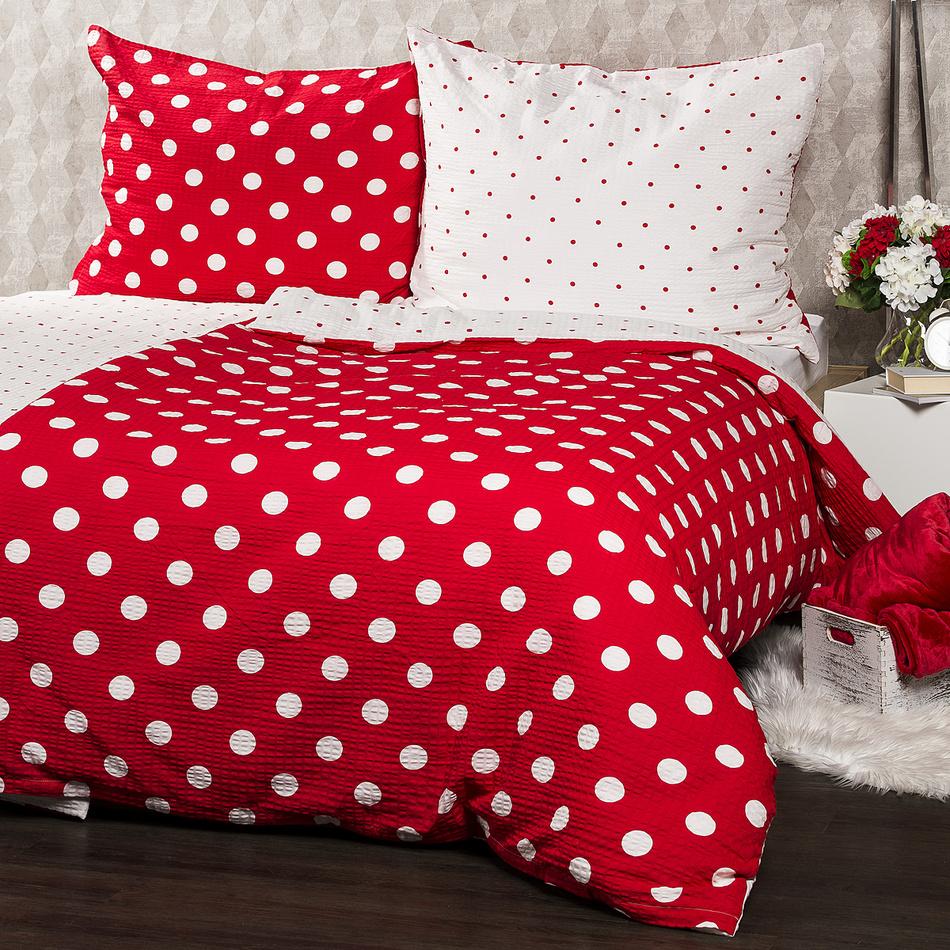 4Home Krepové povlečení Červený puntík, 140 x 220 cm, 70 x 90 cm