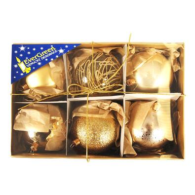 Koule mix 6 ks, pr. 8 cm, zlatá