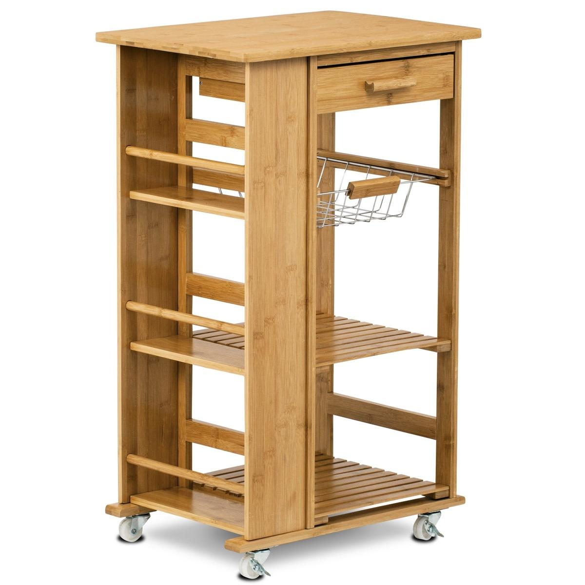 Bambusový servírovací stolík/policový regál na kolieskach, 50 x 37 x 83 cm