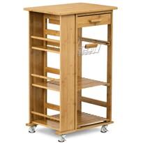 Bambusový servírovací stolek/policový regál na kolečkách, 50 x 37 x 83 cm