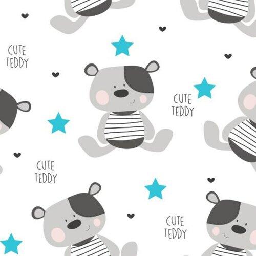 New Baby Wodoodporna podkładka z flaneli Cute Teddy biały, 57 x 47 cm