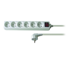 Solight PP73 Predlžovací kábel 6 zásuviek biela, 5 m