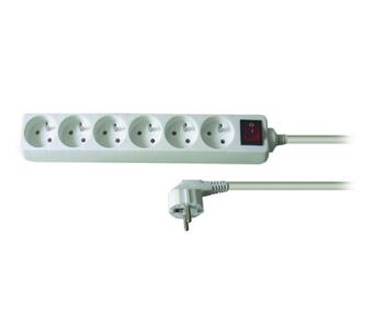 Solight Prodlužovací kabel 6 zásuvek bílá, 5 m