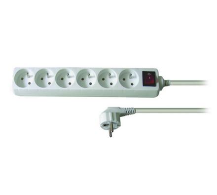 Solight Prodlužovací kabel s vypínačem 6 zásuvek délka 5 m bílý