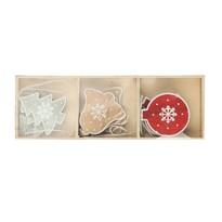 """Zestaw drewnianych ozdób świątecznych Altom """"Mix 9"""", 9szt."""