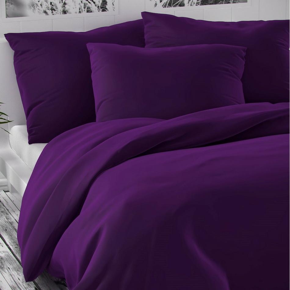 Kvalitex Saténové povlečení Luxury Collection tmavě fialová, 220 x 200 cm, 2 ks 70 x 90 cm