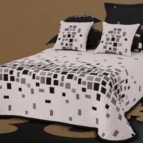 Cuvertură de pat Derby alb-negru, 140 x 220 cm + 1 buc. 40 x 40 cm