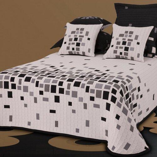 Přehoz na postel Derby černobílá, 140 x 220 cm + 1 ks 40 x 40 cm