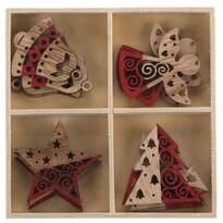 Altom Sada dřevěných vánočních ozdob Mix 4, 16 ks, červená