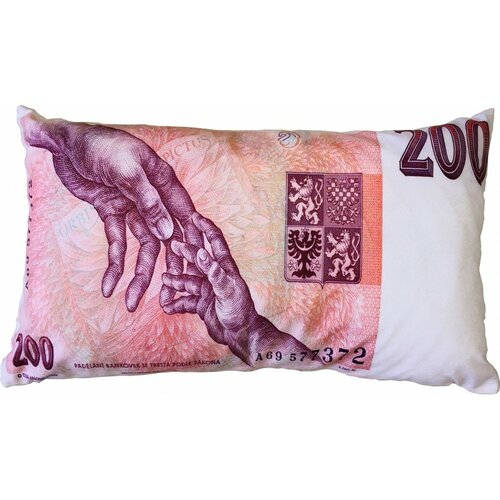 Vankúšik Bankovka 200 Kč, 35 x 60 cm