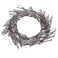 Coroniță decorativă din nuiele, diam. 40 cm, gri