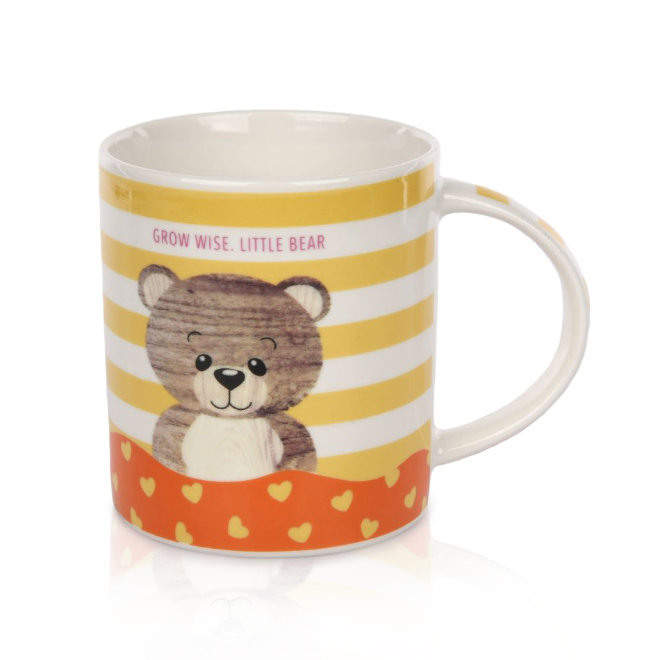 Porcelánový hrnek Little bear 280 ml, žlutá