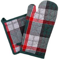 Zestaw kuchenny rękawica i podkładka Krata ciemnozielony, 18 x 32 cm, 20 x 20 cm