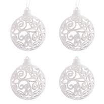 Sada vianočných ozdôb Shiny Guľa biela, 4 ks