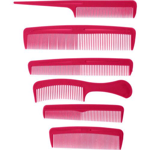 Combs piros fésűkészlet, 6 db
