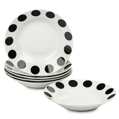 6dílná sada hlubokých talířů Černý puntík
