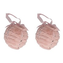 Altom Sada plyšových vianočných ozdôb Balls 2 ks, ružová