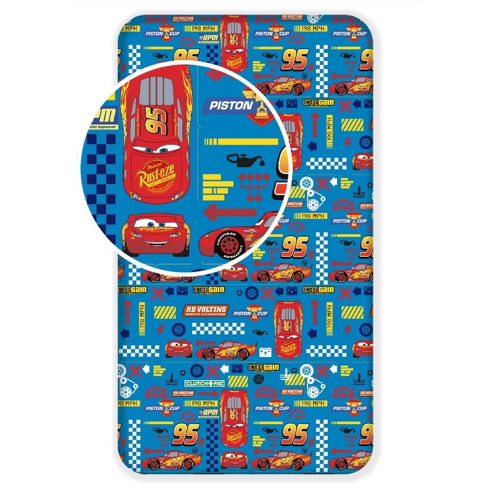 Jerry Fabrics Dětské bavlněné prostěradlo Cars blue, 90 x 200 cm