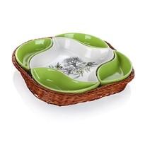 Set de 5 piese castroane de servire Banquet,  în coş Olives