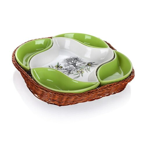 Banquet 5dílná servírovací miska v košíku Olives