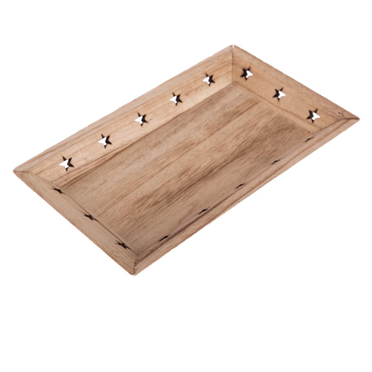 Dřevěný podnos Hvězdičky 33 x 19 x 3,5 cm, hnědá