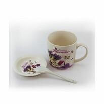 Kubek porcelanowy z talerzykiem i łyżeczką Beautiful Lavender