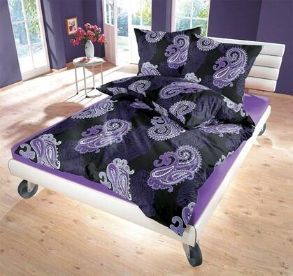Saténové povlečení Casablanca Purple, 240 x 220 cm, 2 ks 70 x 90 cm